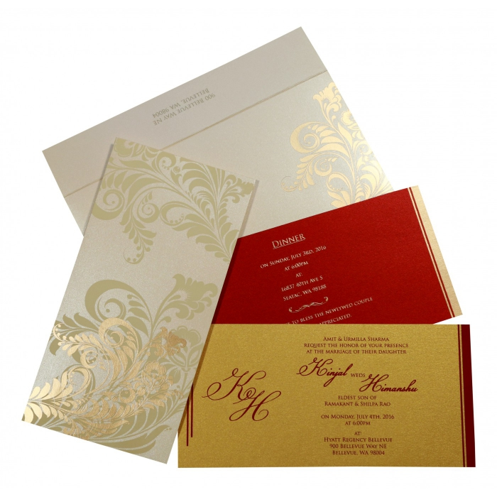Ivory Shimmery Floral Themed - Screen Printed Wedding Card : AG-8259A