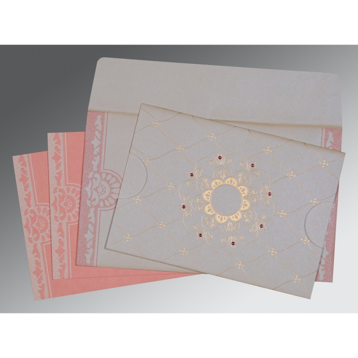 OFF-WHITE PINK SHIMMERY FLORAL THEMED - SCREEN PRINTED WEDDING CARD : ARU-8227M - A2zWeddingCards