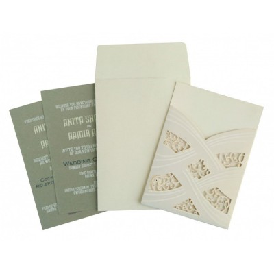 IVORY SHIMMERY LASER CUT WEDDING CARD : ARU-1590 - A2zWeddingCards