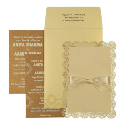 IVORY SHIMMERY LASER CUT WEDDING INVITATION : ASO-1588 - A2zWeddingCards