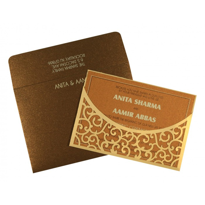 Ivory Shimmery Laser Cut Wedding Card : AIN-1587 - A2zWeddingCards