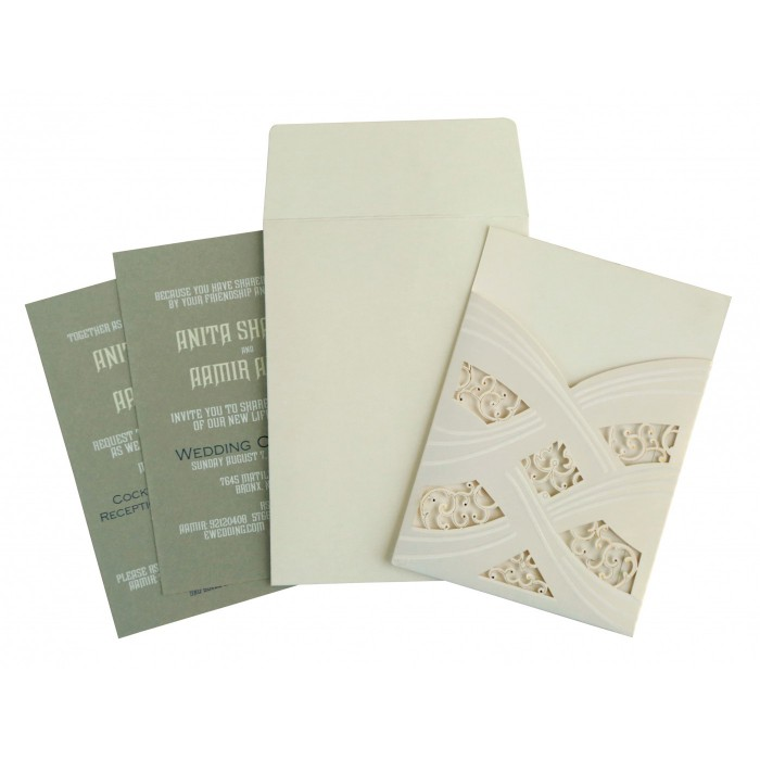 Ivory Shimmery Laser Cut Wedding Card : AIN-1590 - A2zWeddingCards
