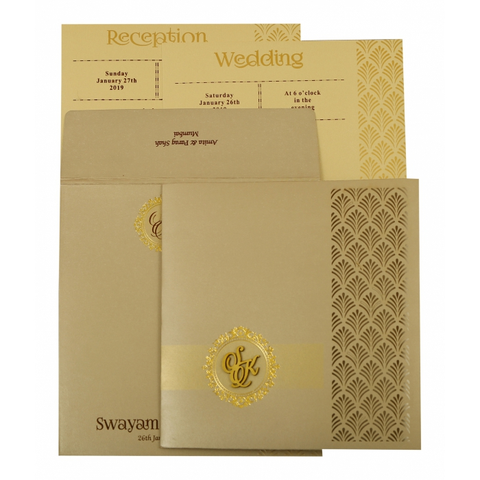 IVORY SHIMMERY LASER CUT WEDDING INVITATION : AS-1929 - A2zWeddingCards