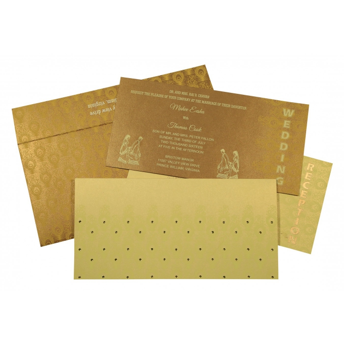 CREAM GOLD SHIMMERY PEACOCK THEMED - SCREEN PRINTED WEDDING INVITATION : AG-8256A - A2zWeddingCards