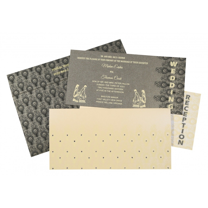 Ivory Shimmery Peacock Themed - Screen Printed Wedding Invitations : AG-8256D - A2zWeddingCards