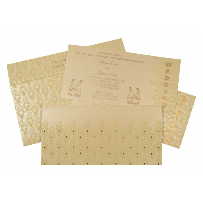 BEIGE GOLD SHIMMERY PEACOCK THEMED - SCREEN PRINTED WEDDING INVITATION : ASO-8256B - A2zWeddingCards