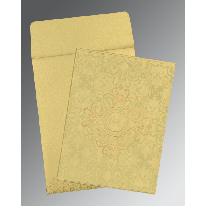 STRAW YELLOW SHIMMERY SCREEN PRINTED WEDDING CARD : AG-8244J - A2zWeddingCards