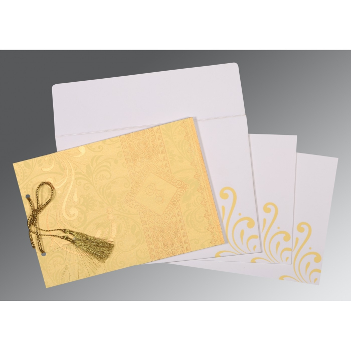 MUSTARD YELLOW SHIMMERY SCREEN PRINTED WEDDING CARD : AI-8223D - A2zWeddingCards