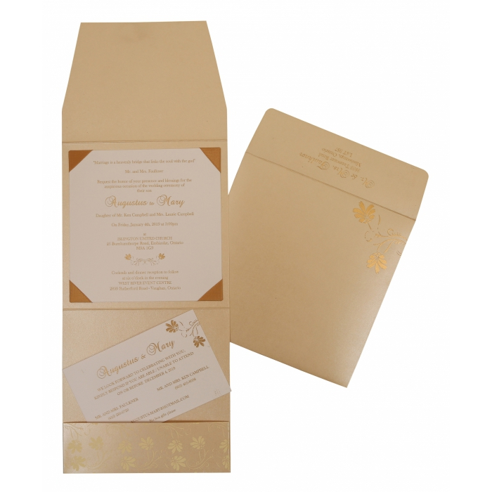 BEIGE SHIMMERY SCREEN PRINTED WEDDING INVITATION : AIN-803E - A2zWeddingCards