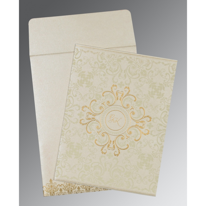 OFF-WHITE SHIMMERY SCREEN PRINTED WEDDING CARD : ARU-8244B - A2zWeddingCards
