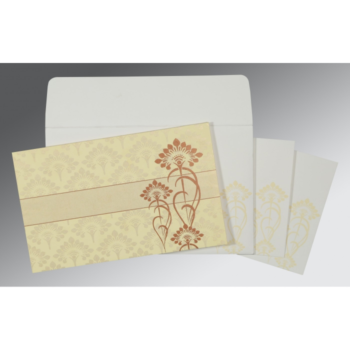 Ivory Shimmery Screen Printed Wedding Card : AS-8239I - A2zWeddingCards