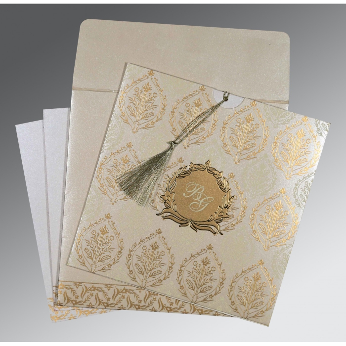 IVORY SHIMMERY UNIQUE THEMED - FOIL STAMPED WEDDING CARD : AI-8249B - A2zWeddingCards