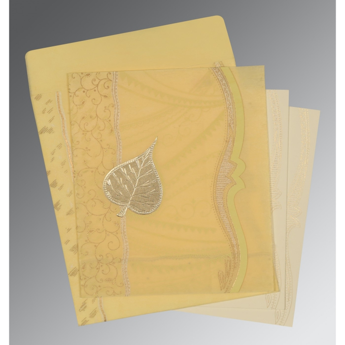 MUSTARD YELLOW SHIMMERY EMBOSSED WEDDING CARD : AD-8210G - A2zWeddingCards
