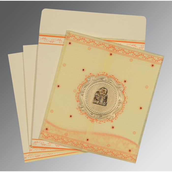 Ivory Wooly Embossed Wedding Invitations : AG-8202R - A2zWeddingCards