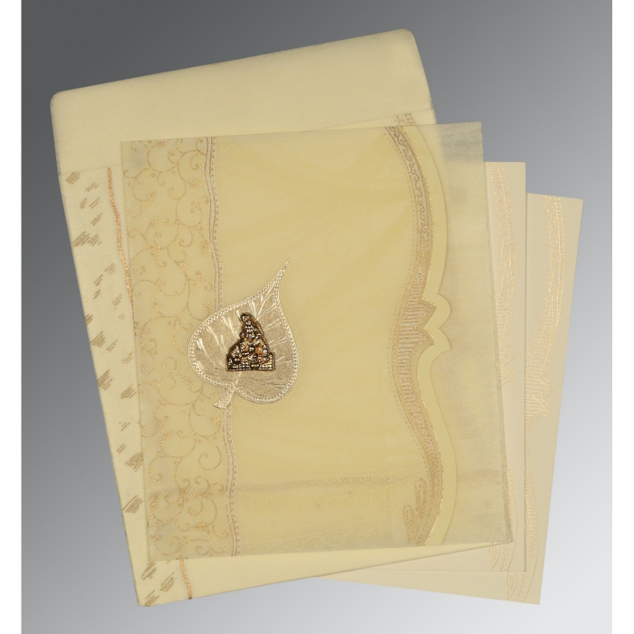 BEIGE SHIMMERY EMBOSSED WEDDING CARD : AG-8210C - A2zWeddingCards