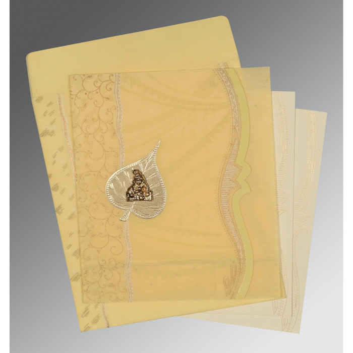 MUSTARD YELLOW SHIMMERY EMBOSSED WEDDING CARD : AG-8210G - A2zWeddingCards