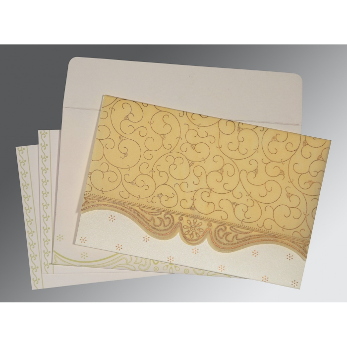 Ivory Wooly Embossed Wedding Invitation : AI-8221K - A2zWeddingCards