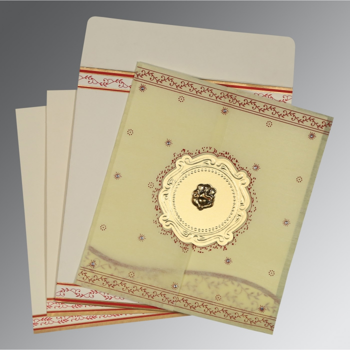 Ivory Wooly Embossed Wedding Invitations : AIN-8202E - A2zWeddingCards