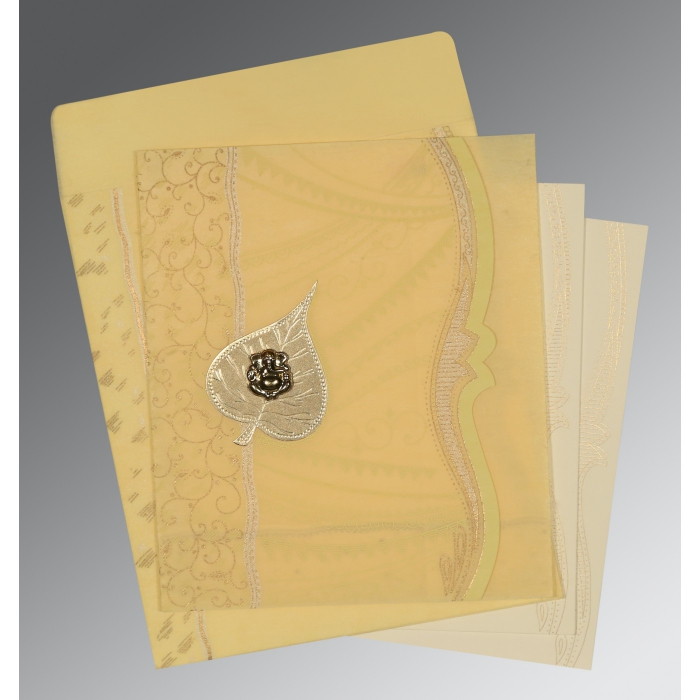 MUSTARD YELLOW SHIMMERY EMBOSSED WEDDING CARD : AIN-8210G - A2zWeddingCards