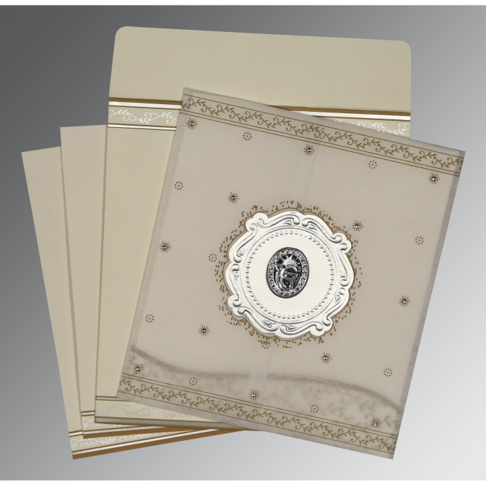 Ivory Wooly Embossed Wedding Invitations : AS-8202O - A2zWeddingCards