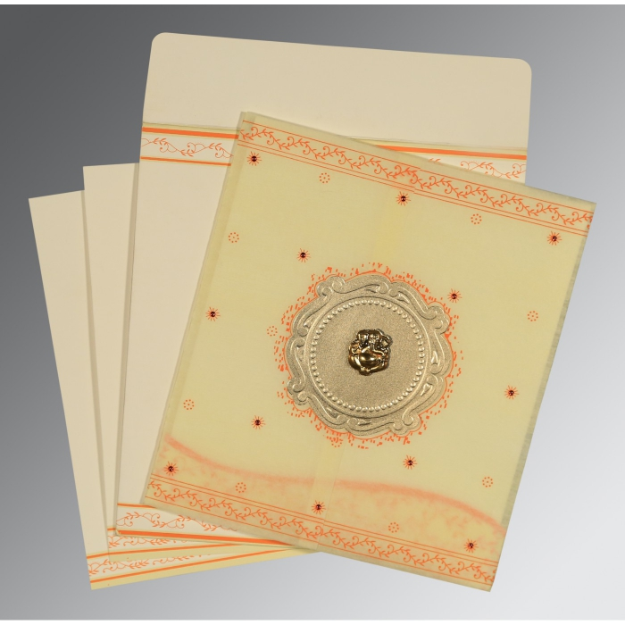 Ivory Wooly Embossed Wedding Invitations : AW-8202R - A2zWeddingCards