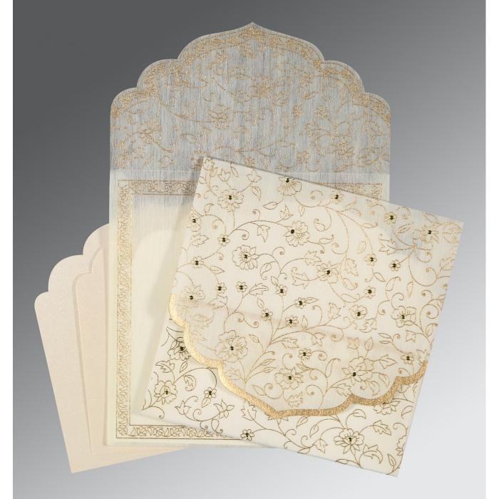 Ivory Wooly Floral Themed - Screen Printed Wedding Invitation : ASO-8211G - A2zWeddingCards
