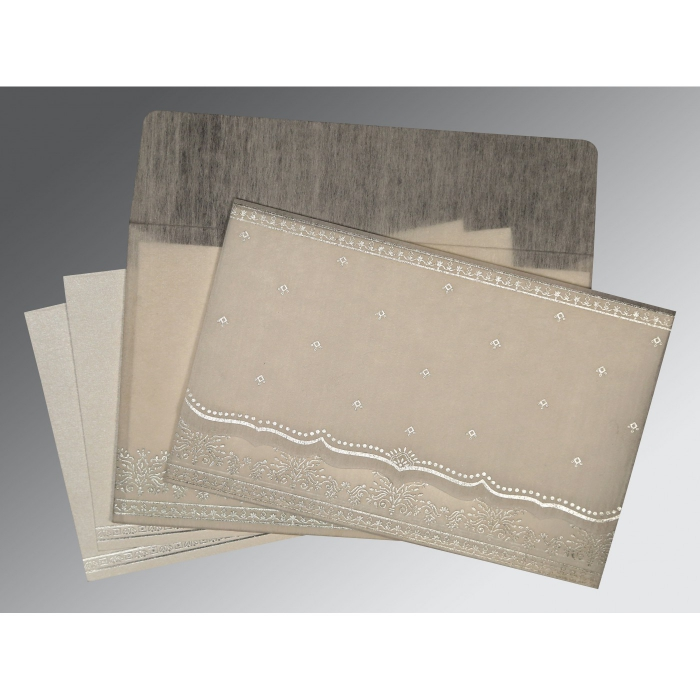 GREY WOOLY FOIL STAMPED WEDDING INVITATION : AS-8241A - A2zWeddingCards