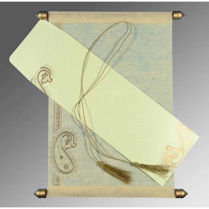 Ivory Wooly Foil Stamped Wedding Card : ASC-5015N - A2zWeddingCards