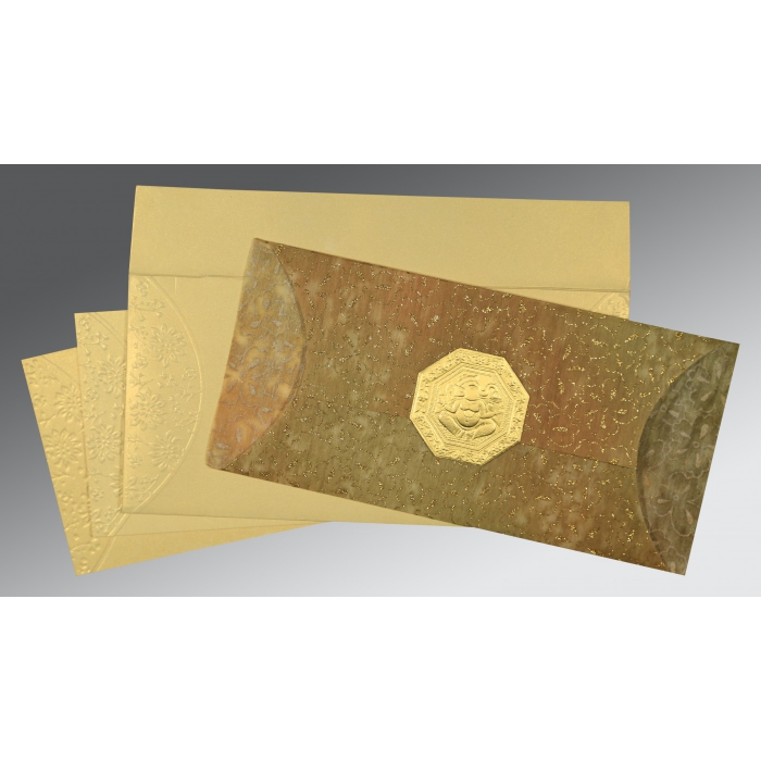 GOLD WOOLY EMBOSSED WEDDING INVITATION : AIN-1391 - A2zWeddingCards