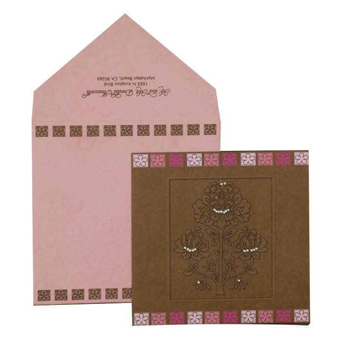 KHAKI HANDMADE COTTON FLORAL THEMED - EMBOSSED WEDDING INVITATION : AW-832 - A2zWeddingCards
