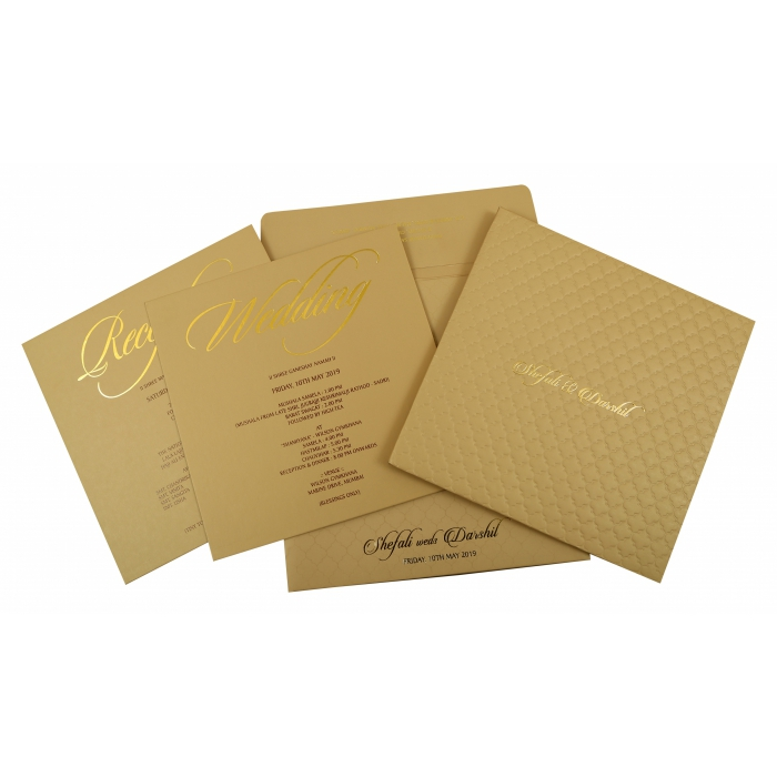 KHAKI MATTE BOX THEMED - EMBOSSED WEDDING INVITATION : AI-1851 - A2zWeddingCards