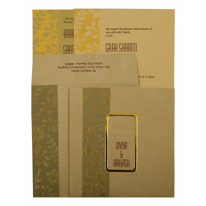 KHAKI MATTE FLORAL THEMED - FOIL STAMPED WEDDING INVITATION : ASO-1897 - A2zWeddingCards