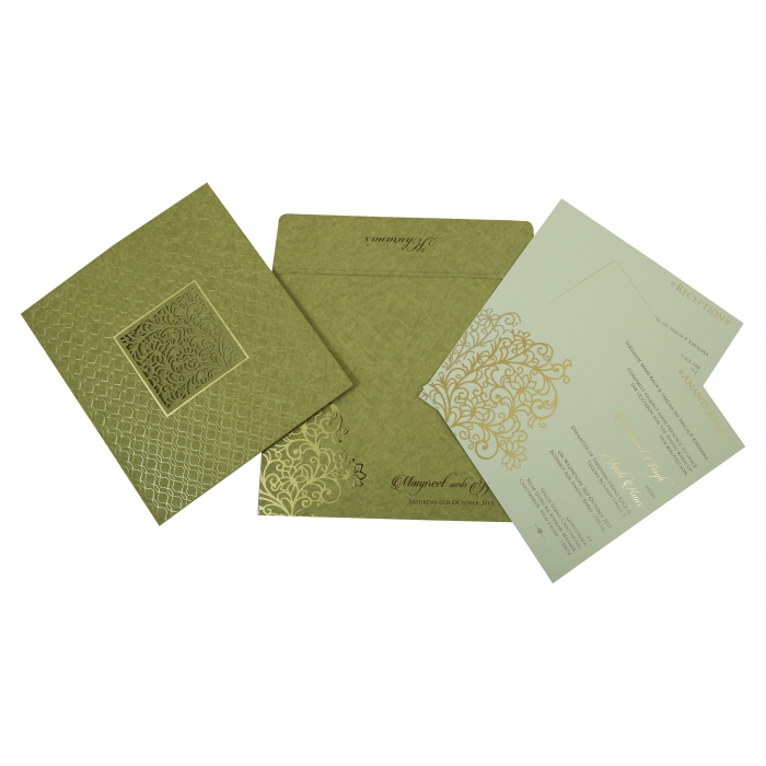 Khaki Matte Foil Stamped Wedding Invitation : AC-1810 - A2zWeddingCards