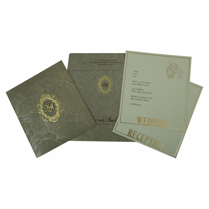 Khaki Matte Foil Stamped Wedding Invitation : ARU-1804 - A2zWeddingCards