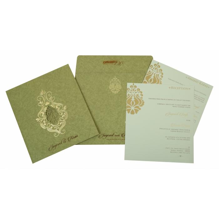 Khaki Matte Foil Stamped Wedding Invitation : AS-1813 - A2zWeddingCards