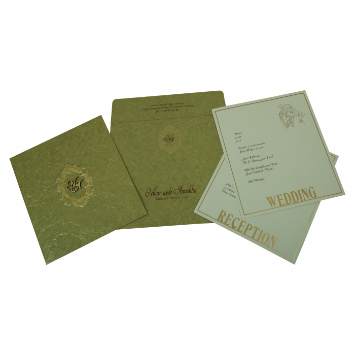 Khaki Matte Foil Stamped Wedding Invitation : AS-1814 - A2zWeddingCards
