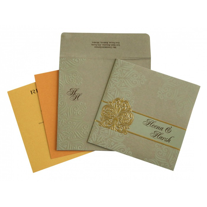 Khaki Matte Paisley Themed - Embossed Wedding Invitations : ASO-1730 - A2zWeddingCards