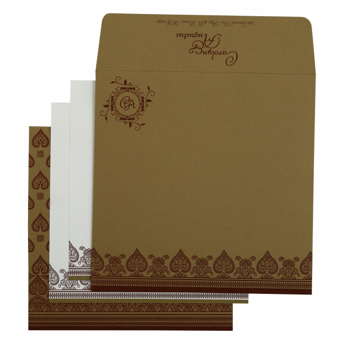 KHAKI MATTE SCREEN PRINTED WEDDING INVITATION : ASO-809C - A2zWeddingCards