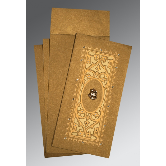 Khaki Shimmery Embossed Wedding Card : AC-1440 - A2zWeddingCards