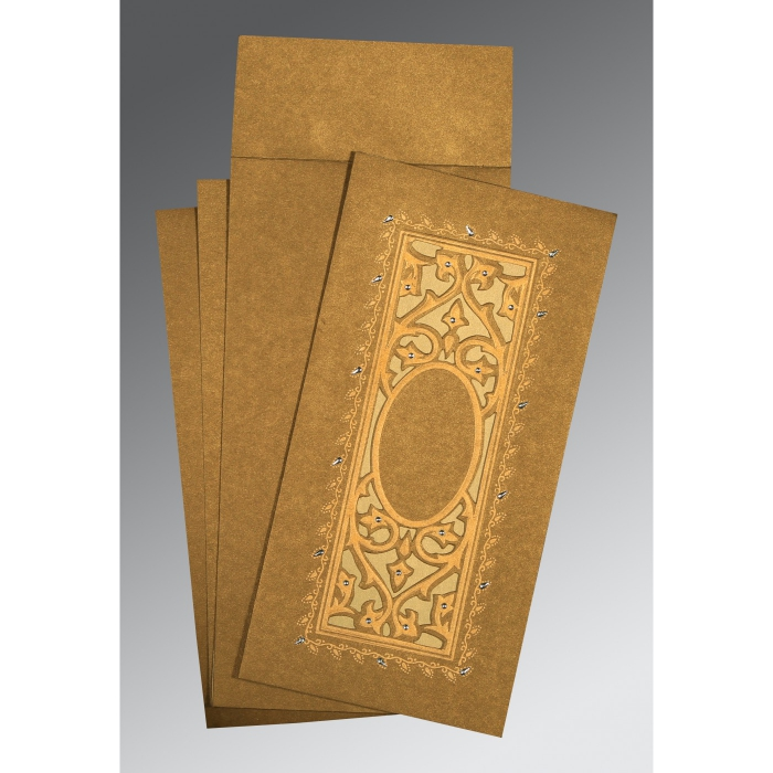 Khaki Shimmery Embossed Wedding Card : AD-1440 - A2zWeddingCards