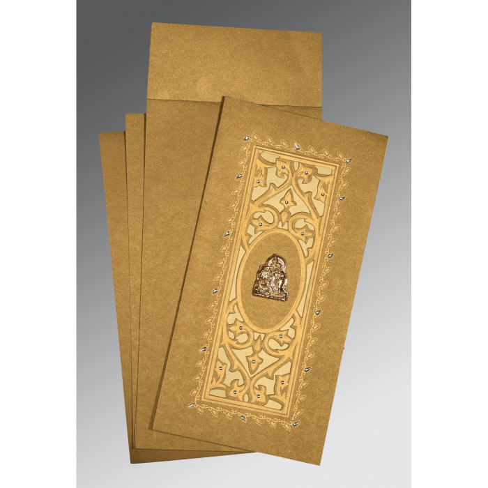 Khaki Shimmery Embossed Wedding Card : AG-1440