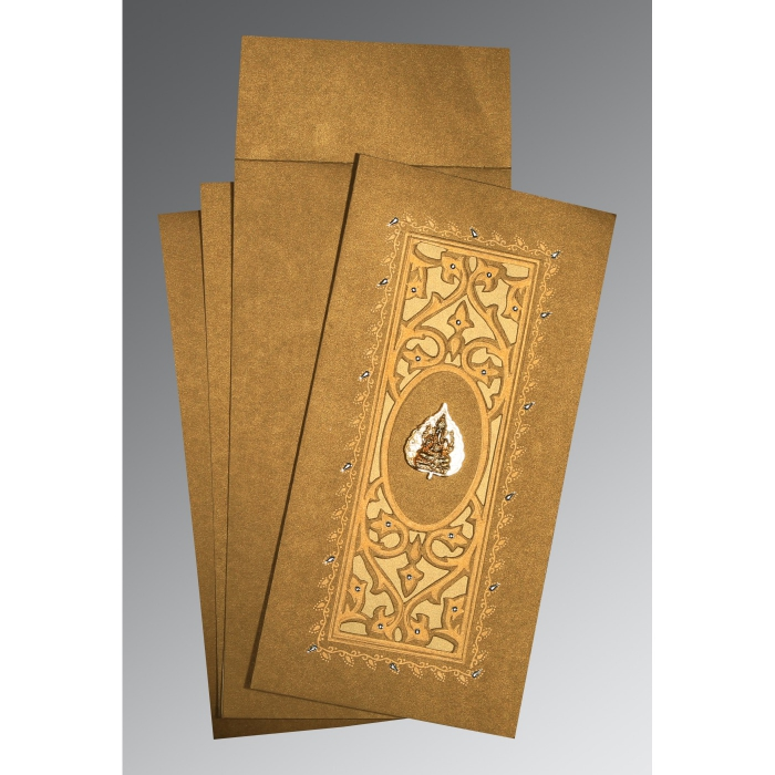 COPPER SHIMMERY EMBOSSED WEDDING CARD : AIN-1440 - A2zWeddingCards