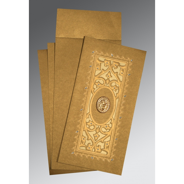 Khaki Shimmery Embossed Wedding Card : ARU-1440 - A2zWeddingCards