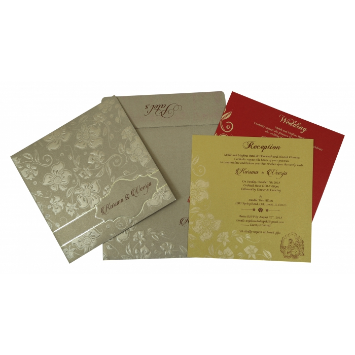 Khaki Shimmery Floral Themed - Foil Stamped Wedding Invitation : AC-1785 - A2zWeddingCards