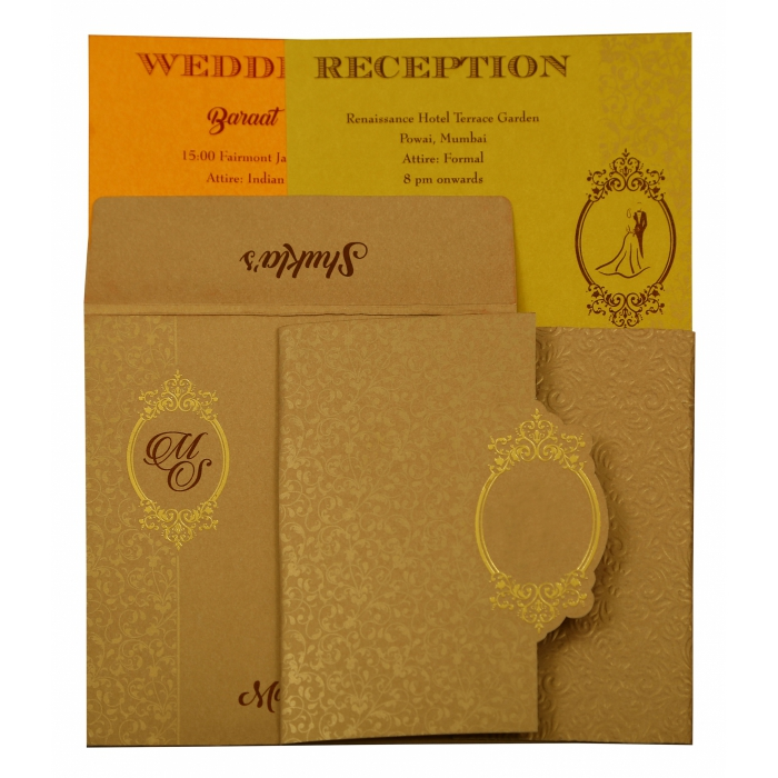 Khaki Shimmery Foil Stamped Wedding Invitation : AIN-1864 - A2zWeddingCards