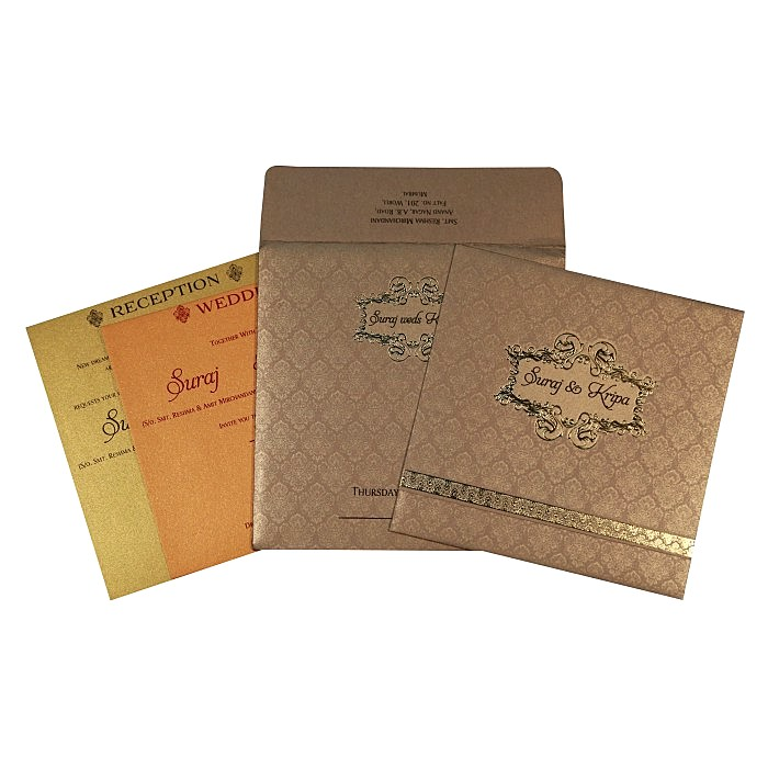 Khaki Shimmery Foil Stamped Wedding Invitations : AI-1713 - A2zWeddingCards