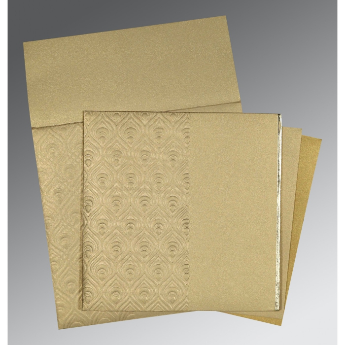 KHAKI SHIMMERY FOIL STAMPED WEDDING INVITATION : AI-1506 - A2zWeddingCards