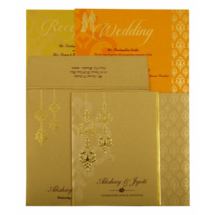 Khaki Shimmery Paisley Themed - Screen Printed Wedding Invitation : AIN-1873 - A2zWeddingCards