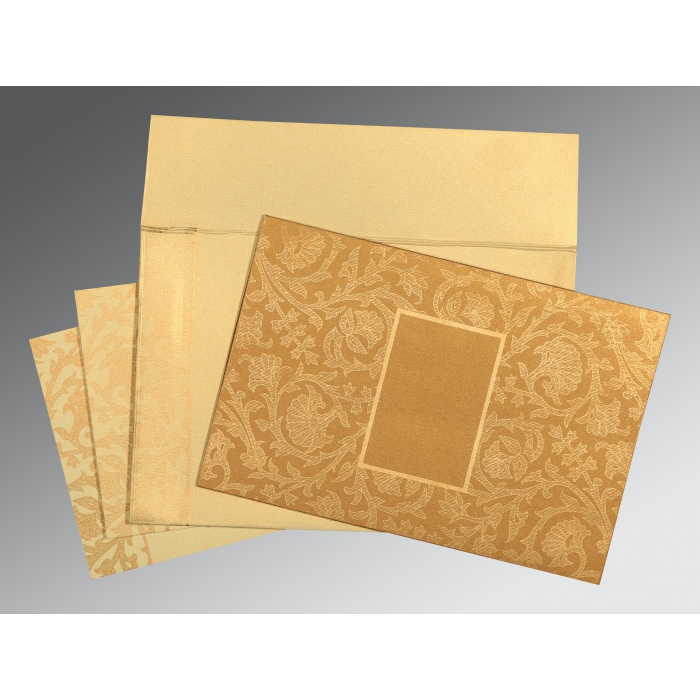 YELLOW GOLD SHIMMERY POCKET THEMED - EMBOSSED WEDDING INVITATION : AD-1434 - A2zWeddingCards