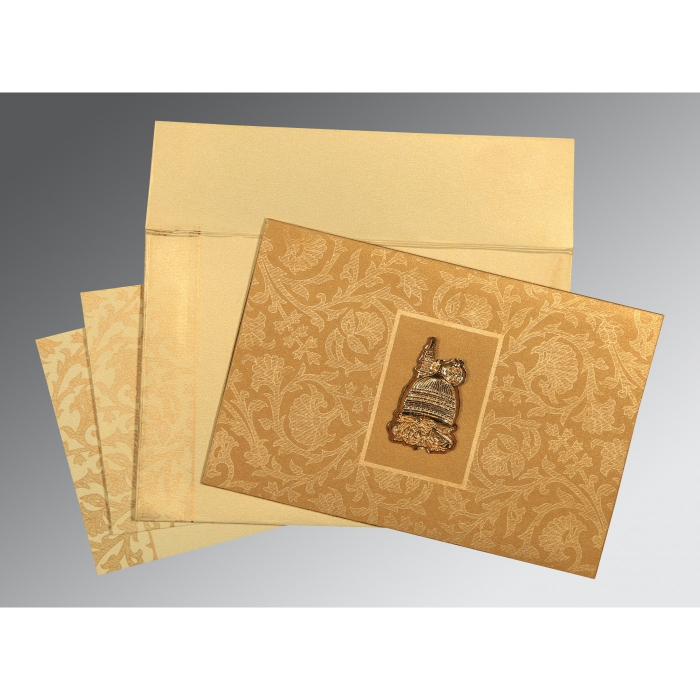 Khaki Shimmery Pocket Themed - Embossed Wedding Invitation : AI-1434 - A2zWeddingCards